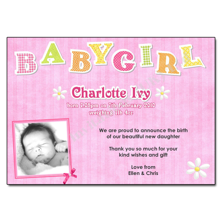 Baby Girl Birth Announcement Thank You Card - Baby Girl Birth Announcements