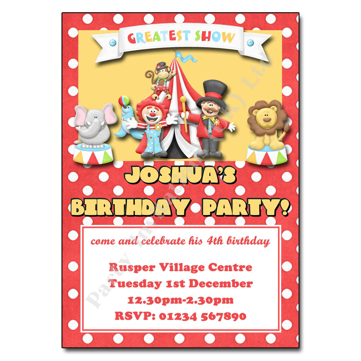 Circus Party Invitation Personalised Party Invites - Circus Party Invitation