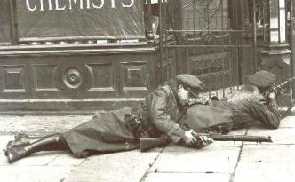 Free State troops pictured here during a gun battle in Dublin city, 1922.