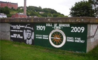 A modern Republican mural depicting Terence MacSwiney, who died in 1920. Republicans insist of the continuity of the Republican past with the present. So do their critics.