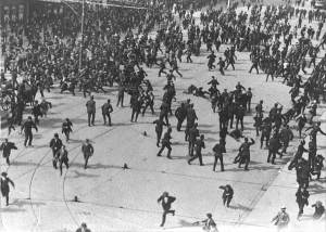 The 'Bloody Sunday' riot of August 1913. The then rural village of Finglas had its own disturbances during the strike.