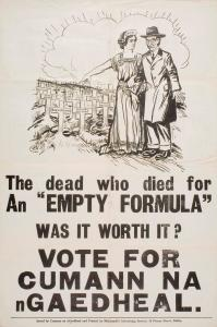 A 1932 Cumann na nGaedheal poster citing Seamus Dwyer as one of those who died over the Oath of Allegiance, which De Valera later called, 'an empty formula'.