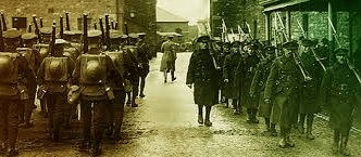 British troops being replaced by Free State troops in Dublin in 1922.