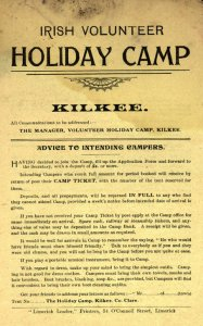 A notice of Volunteer 'Holiday Camp' in Limerick.