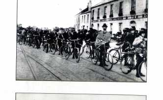 Teh Volunteers marched or cycled to Howth. many were issued with batons as can be seen in this photograph.