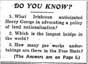 Quiz in the Irish Independent, 1929.