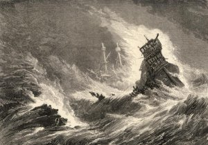 A depiction of the wreck of the Armada off Ireland.