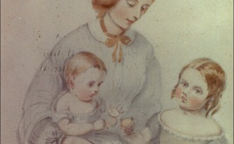 Eliza Nangle and daughters, Francesand Henrietta watercolour early 1830s. Courtesy of the Nangle Family