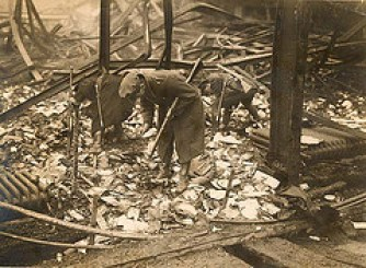 The remains of a burning in Dublin, November 1922.