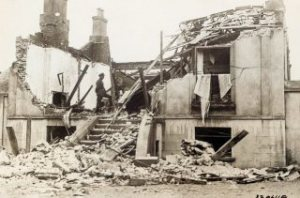 The house of MA Corrigan, Cief Stat Solicitor, at Rathmines, blown up by anti-Treaty forces in January 1923.