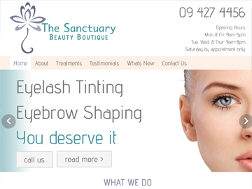 The Sanctuary Beauty Boutique - Modern Wide Fluid Website Design