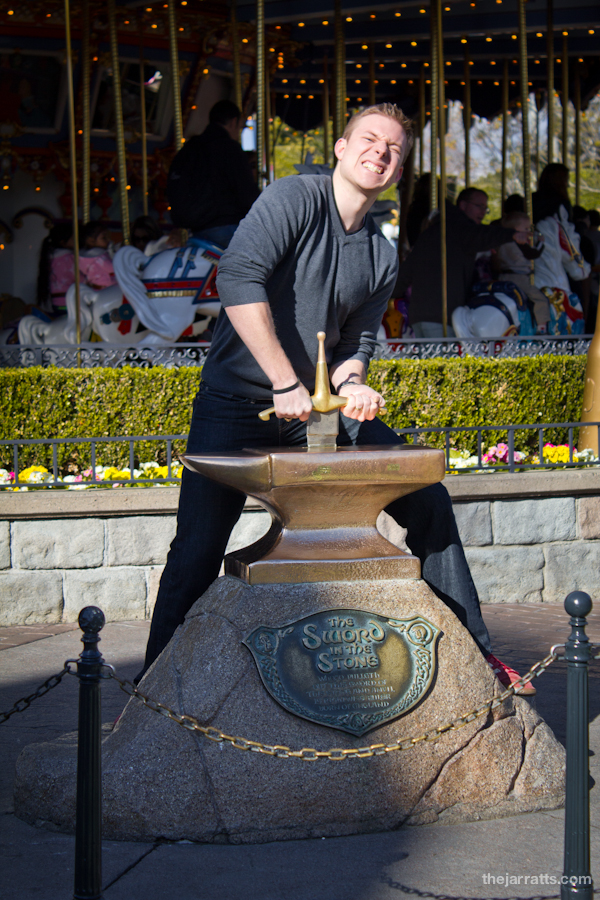 Brandon attempts to remove the Sword from the Stone.