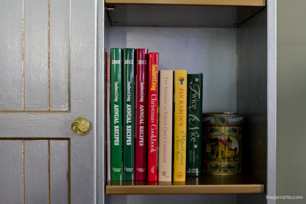 The cookbooks have a home! More on the shelf above.