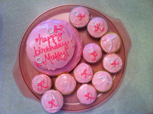 Muff's 12th birthday cake and cupcakes decorated by Hadley (don't worry, Mup ate the doggie version)