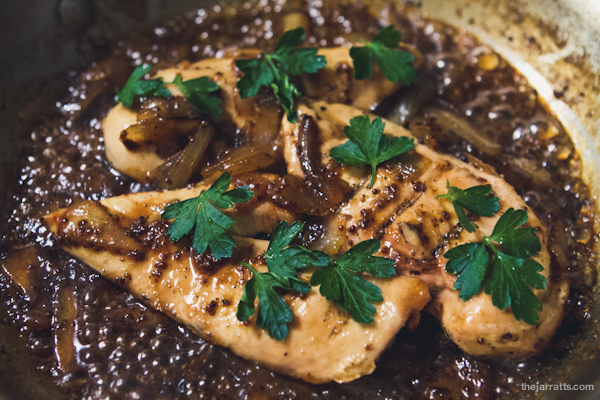 chicken with honey-beer sauce