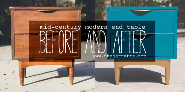 mid-century modern end table before and after via www.thejarratts.com