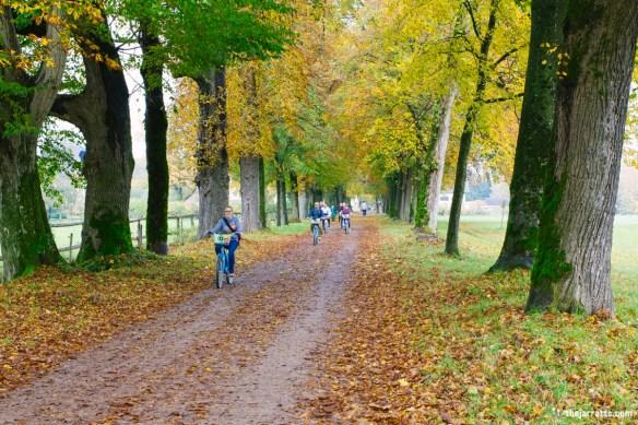 Riding toward Schloss Hellbrunn