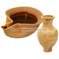 Clay Oil Lamp Canaanite with Jar
