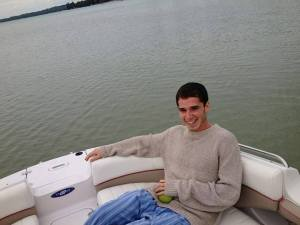 David Gordon relaxing on the water.