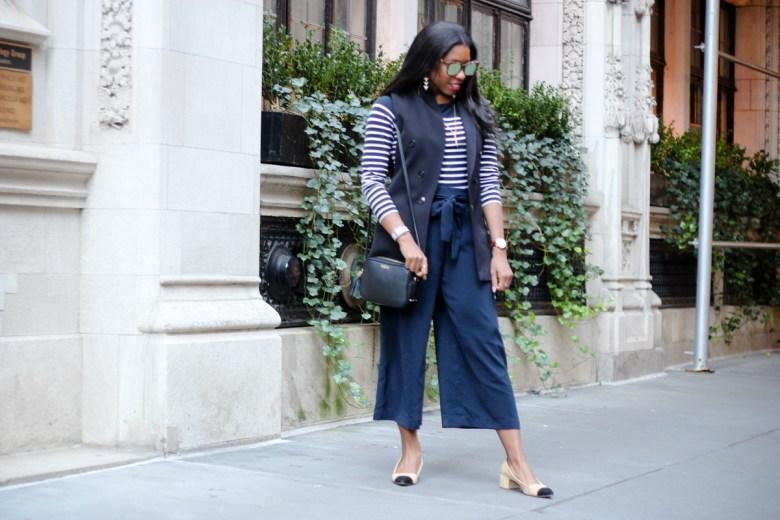 Blue Zara Culottes and Breton Stripe Top