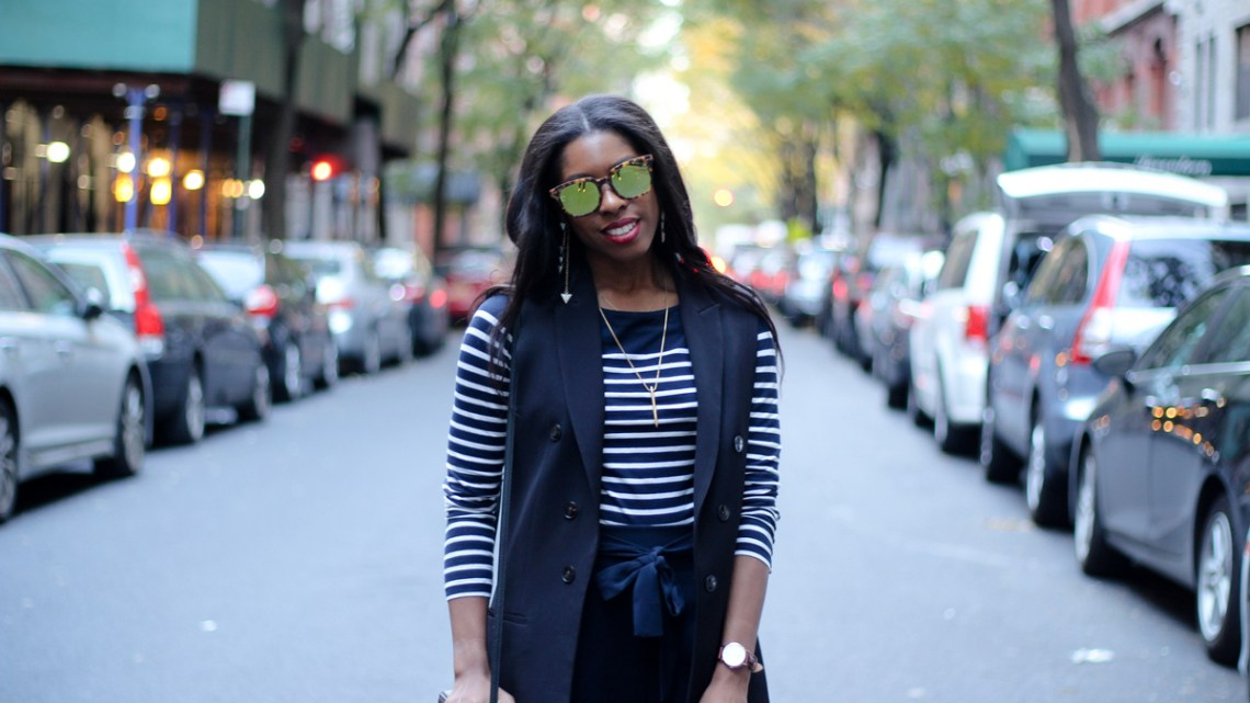 Blue Zara Culottes and Breton Stripe Top with Marsquest Sunglasses