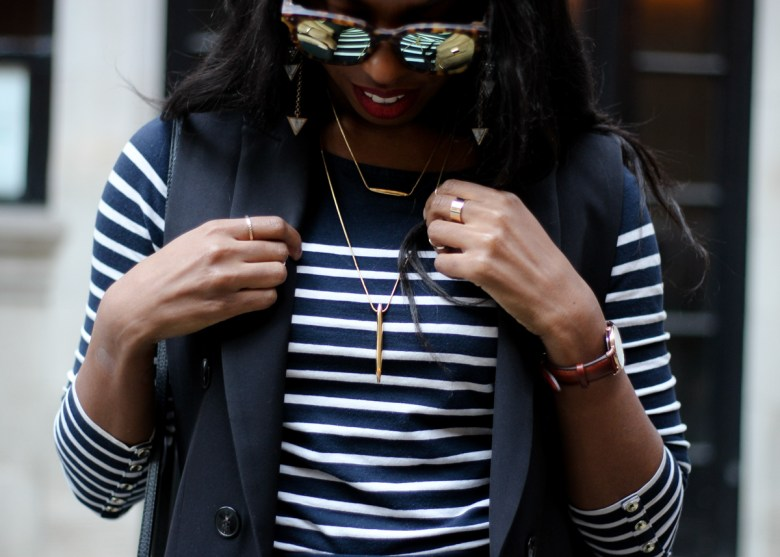 Breton stripe top with Marsquest sunglasses, Happiness Boutique Earrings and a Trina Turk layered necklace from Rocksbox