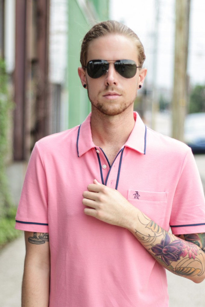 The Kentucky Gent in Original Penguin Pink Polo Shirt, Dockers Camouflage Pants, Bucketfeet Slip On Shoes, and Ray-Ban Aviator Sunglasses.