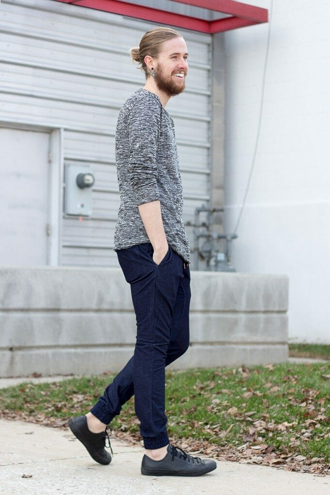 The Kentucky Gent, a Louisville, Kentucky based men's life and style blogger, in Zanerobe Denim Joggers.