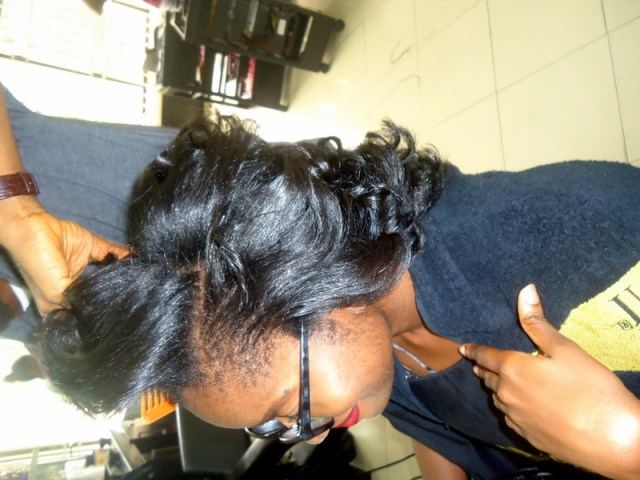 Silk Press on 4C Natural Hair- TasalaHQ Salon Lagos