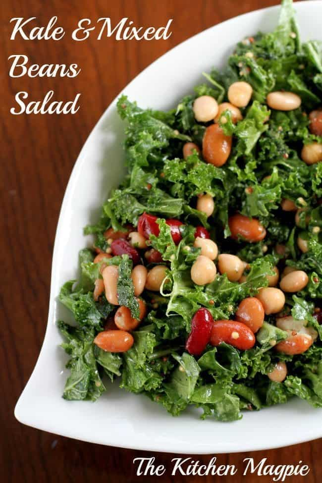 This Kale & Mixed Bean Salad was made in 5 minutes in the morning then ...
