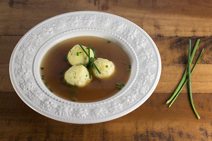 Voila, semolina dumpling soup! Perfect for company appetizer soup or a ...