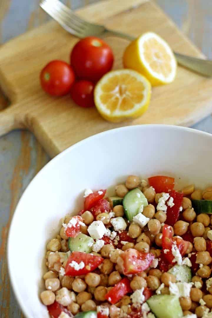 Smashed chickpea, tomato, cucumber & feta salad...the perfect throw ...
