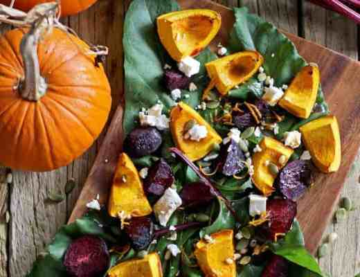 The perfect meal for the cooler weather - an autumn harvest roast vege salad with pumpkin, beets, feta, pinenuts & a maple orange dressing