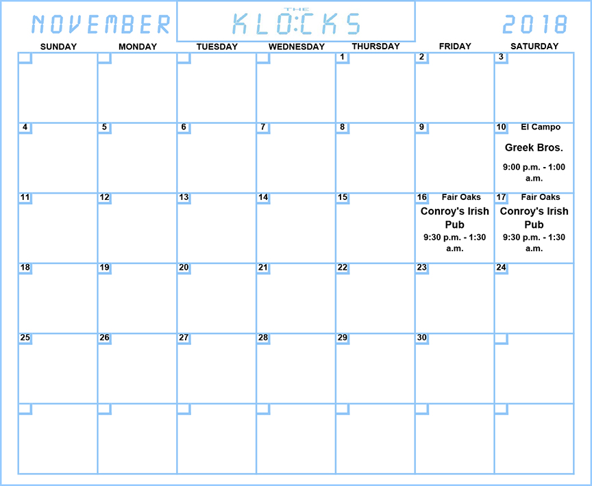 The KLOCKS - CALENDAR - NOVEMBER 2018