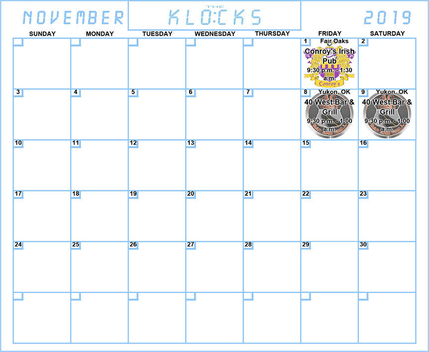 The KLOCKS - CALENDAR - NOVEMBER 2019