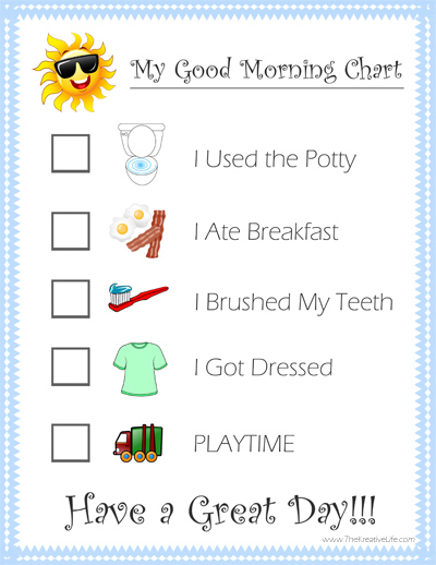 Free Daily Child Routine Chart Printables - The Kreative Life