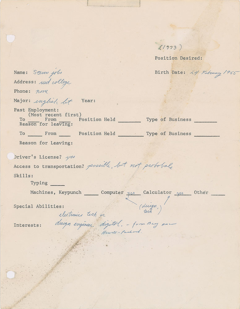 This Steve Jobs 1973 job application was so bad you literally won\u0027t - what does a job resume look like