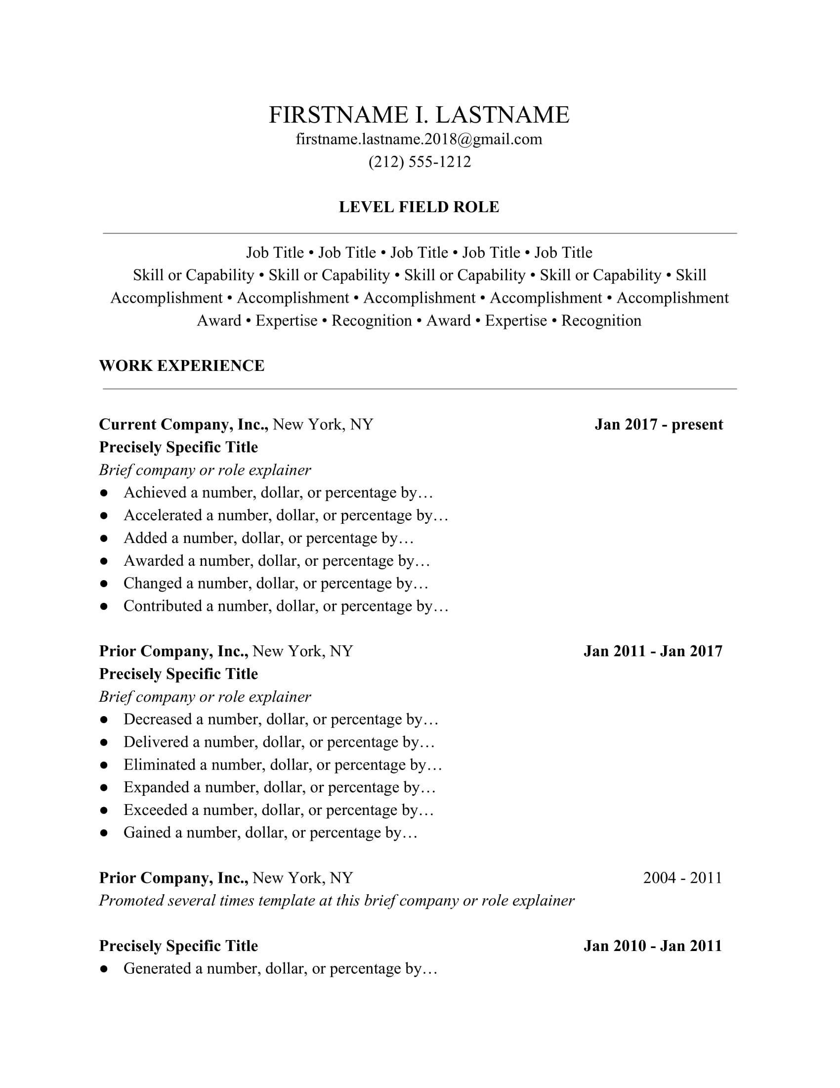 resume form guide