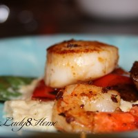 Seared Scallops with basil infused Pear Puree
