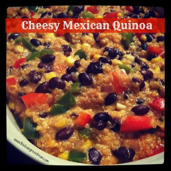 Need a meatless meal idea? This vegetarian Cheesy Mexican Quinoa tastes great and makes enough for leftovers!