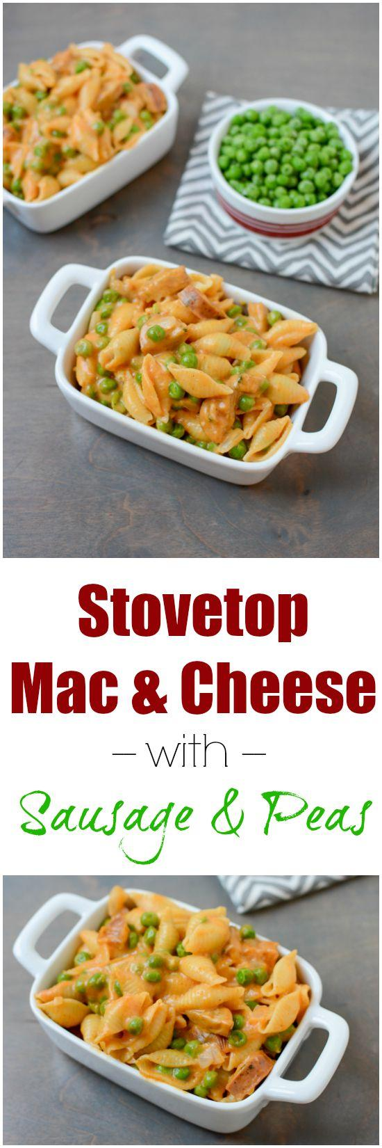 This recipe for Stovetop Mac and Cheese with Sausage and Peas is quick ...