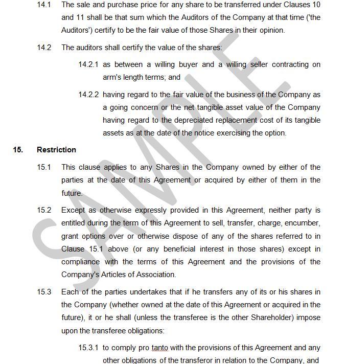 Shareholders Agreement - Equal Shareholdings The Legal Stop - shareholder agreement