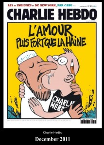 "A Charlie Hebdo cover: ""Love is more powerful than hate."""