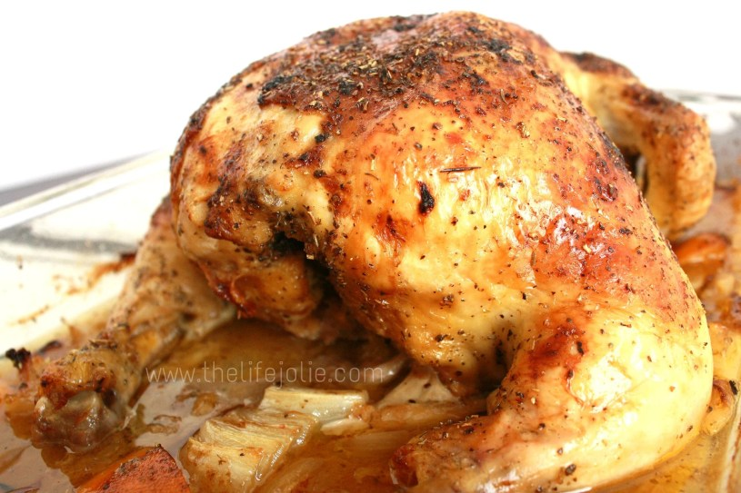 This is the most simple delicious whole roast chicken recipe- there is no extra, unnecessary work but the results are super delicious- even the white meat is  super tender and succulent! This recipe is fool-proof! www.thelifejolie.com