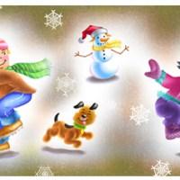 Paul  Weiner - Cartoon Characters Enjoying The Winter