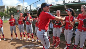 Ole Miss Softball vs Saint Mary's on February 12th, 2016 at the 2016 Oceanic Time Warner Classic at the University of Hawaii in Honolulu, HI.  Photo by Joshua McCoy/Ole Miss Athletics @olemisspix
