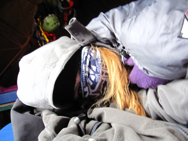 How I stayed warm while napping before supper.