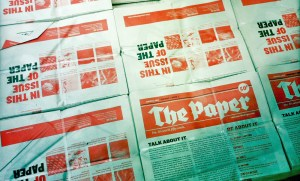 Bundles of the first issue of The Paper