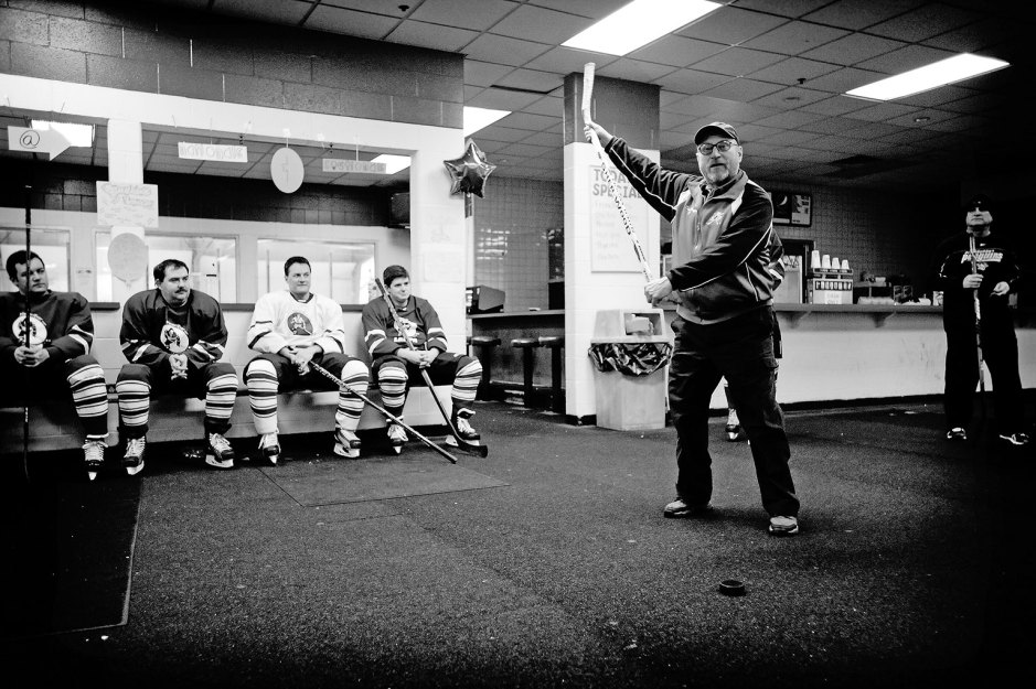 Don Rogers instructs the Never Ever League during a chalk talk at the beginning of practice. Photo by Hunter Wilson/Kertis Creative.