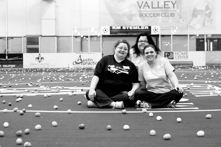 Front row is (left to right) Robyn Thompson, director of marketing, and Whitney Trowbridge, director of operations. Behind them is Michelle Byrd, director of communications. Photo courtesy Katie Lacer.
